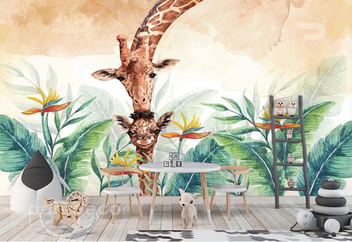 Майка жираф с малкото и