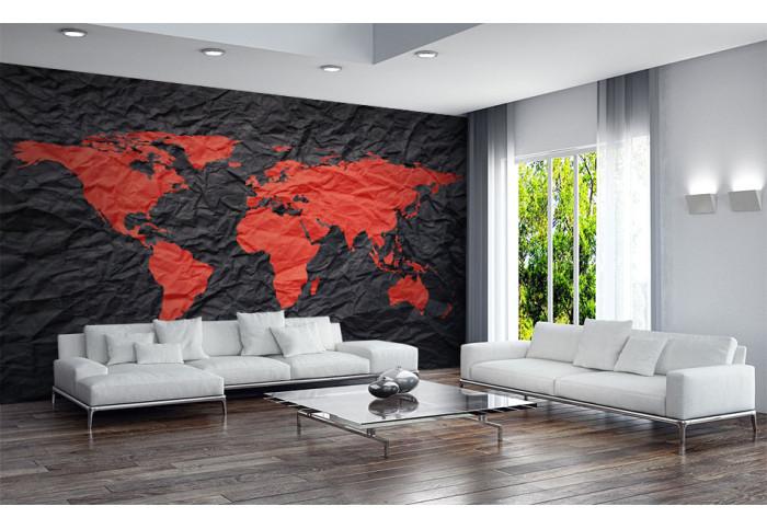 Фототапет Червена карта на света