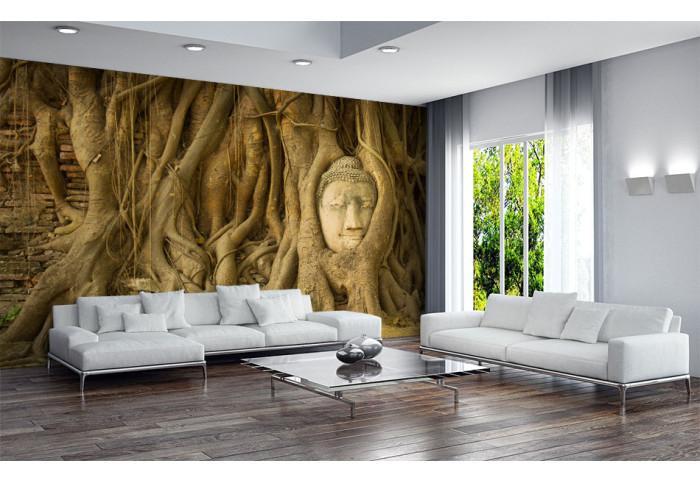 Фототапет Глава на Буда в корени на дървета