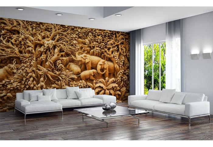 Фототапет Дърворезба слонове
