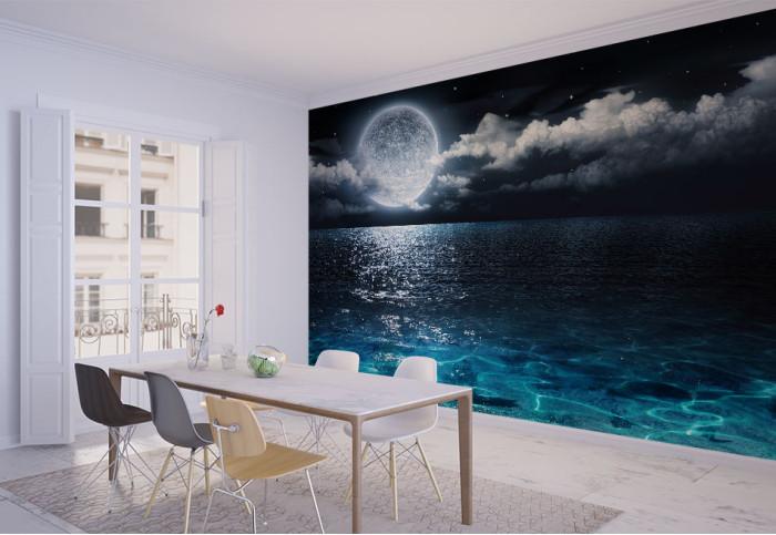 Фототапет Абстракция луна и море