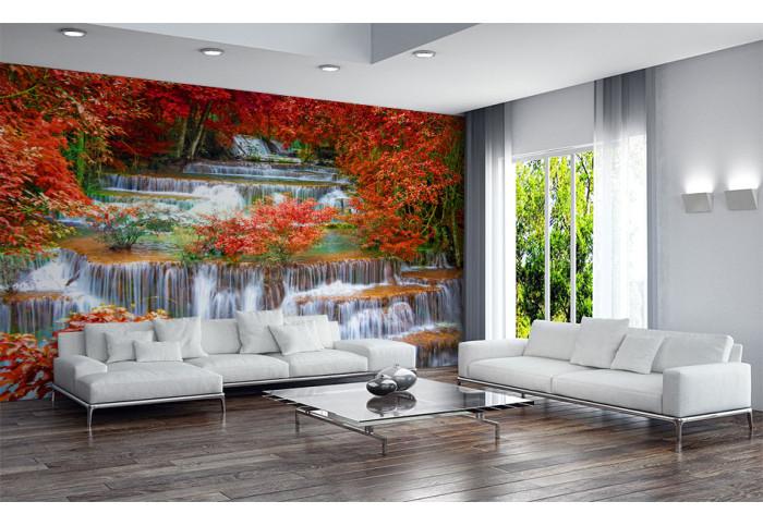 Фототапет Стар водопад с червени дървета