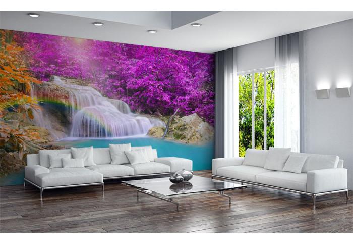 Фототапет Стар водопад с лилави дървета